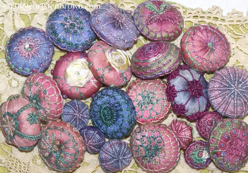 Tandletons- hand made buttons stitched with needle lace, traditional embroidery, tatting
