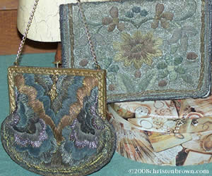 Vintage French Handbags with Metal Thread Embroidery