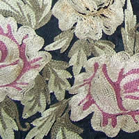 Close-up view of vintage tambour embroidery