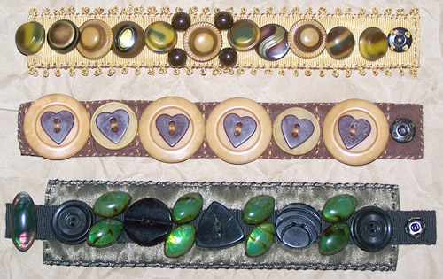 bracelets made from vintage celluloid buttons