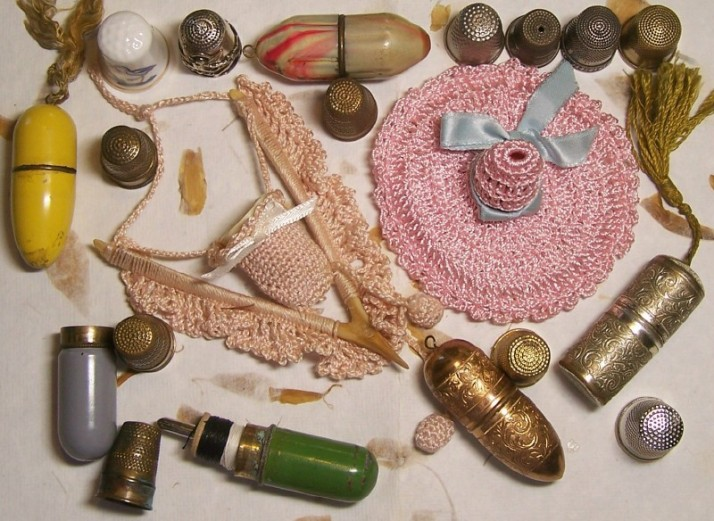 vintage thimbles and thimble holders