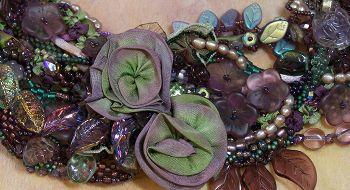 free- form peyote stitch with ribbon worked flowers