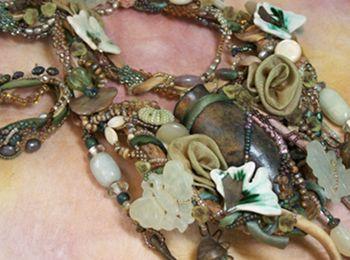 free-form peyote stitch with ribbon worked flowers