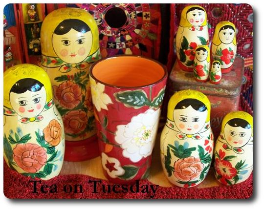 tea cup, vintage textiles, stacking doll