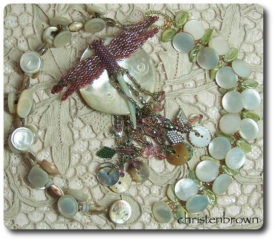 bracelets made from vintage mother of pearl buttons