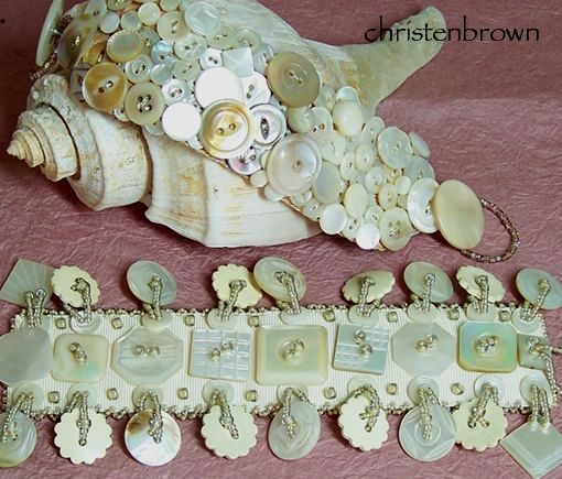 ribbon bracelets stitched with vintage mother of pearl buttons