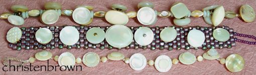bracelets made from mother of pearl buttons