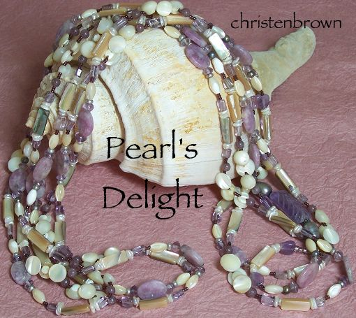 necklace strand made from amethyst and mother of pearl buttons