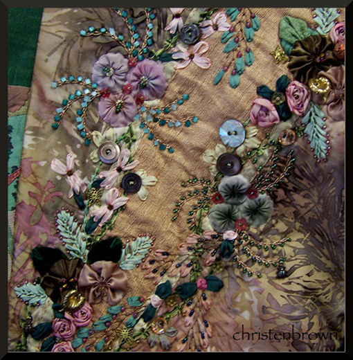 silk ribbon embroidery with mother of pearl buttons