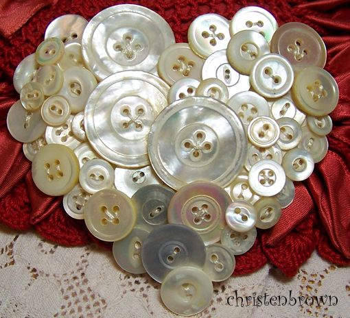 heart made from vintage mother of pearl buttons