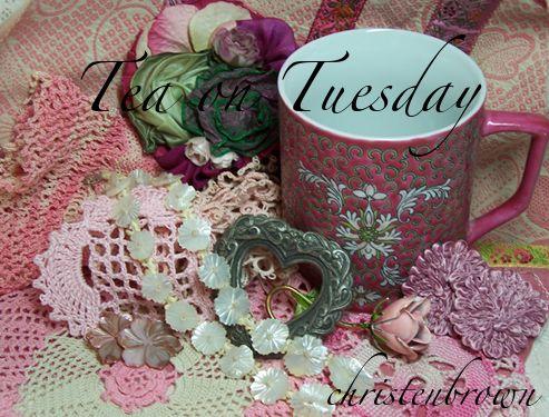vintage tea mug, vintage lace