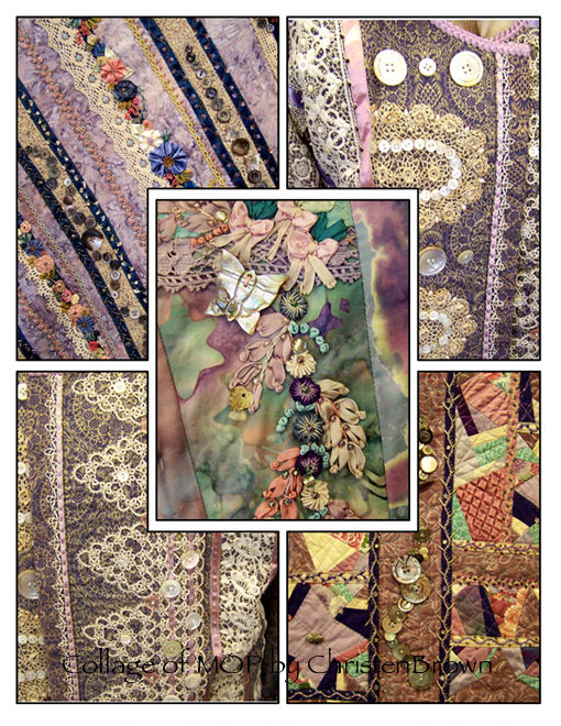 collage of wearable art with mop buttons