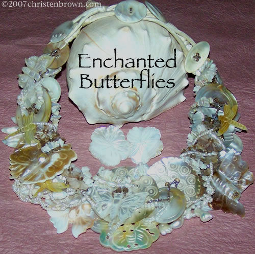 necklace made from vintage and new mother of pearl buttons