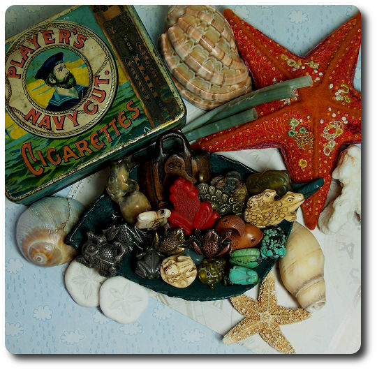 treasure trove of shells and frogs