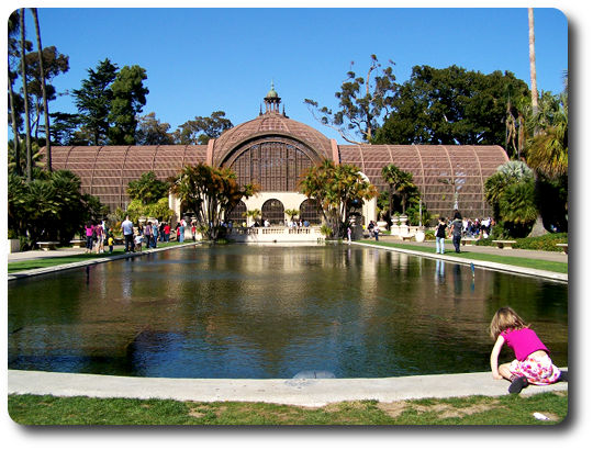 lily pond and botanical building