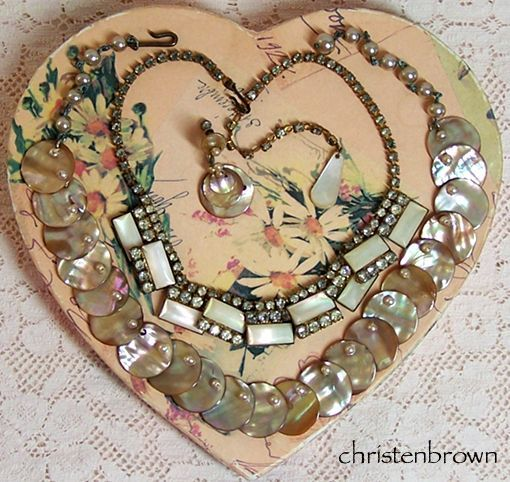 vintage jewelry made from carved mother of pearl