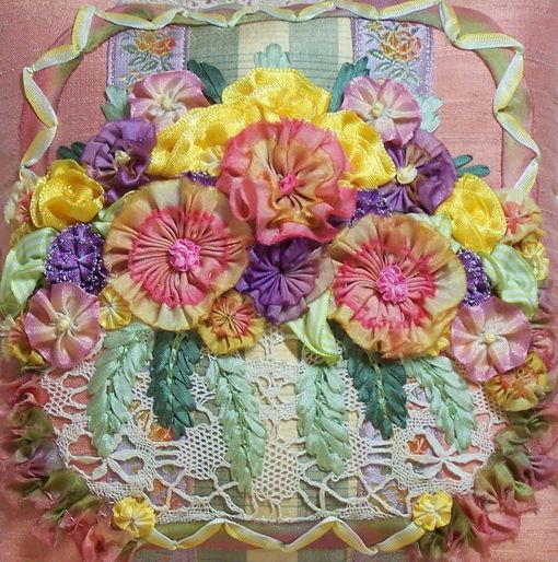 silk ribbon embroidery with ribbon work flowers