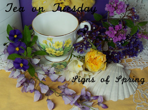 vintage tea cup and fresh flowers