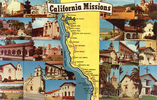 postcard of California Missions