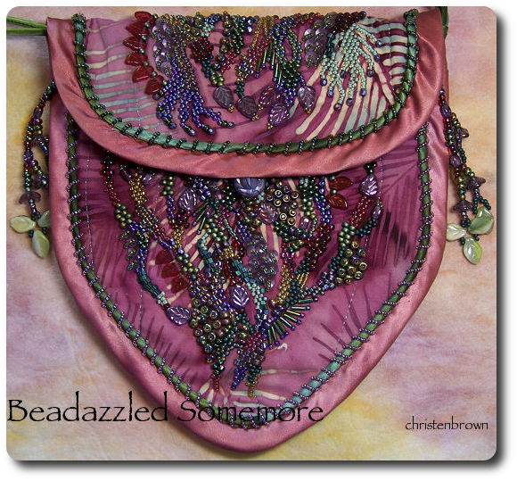 beads stitched to fabric