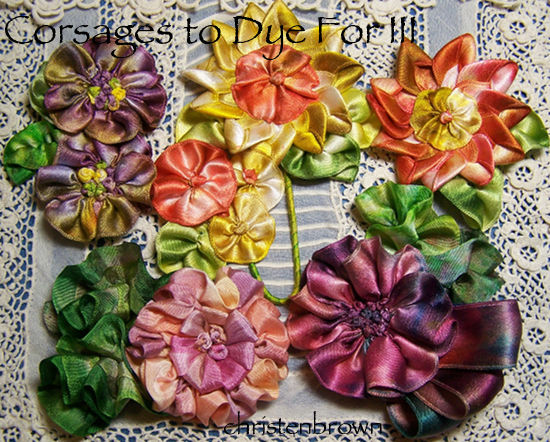 dyed ribbon corsages