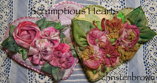 ribbon work flowers and leaves