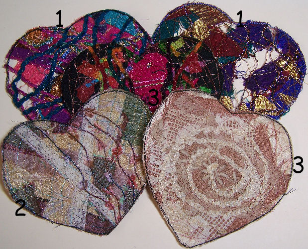solvy fused fabric, lace and yarn