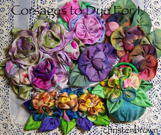 hand dyed ribbonworked flowers