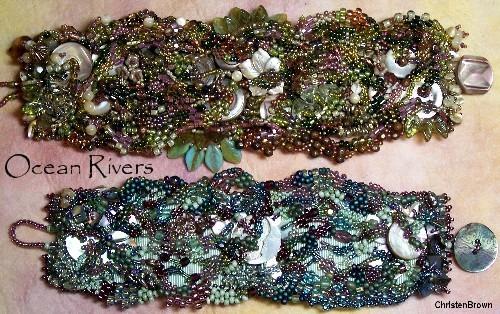 free form peyote stitched bracelet
