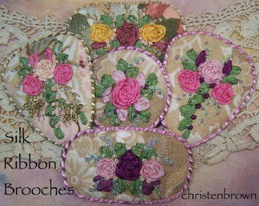 silk ribbon embroidery brooches