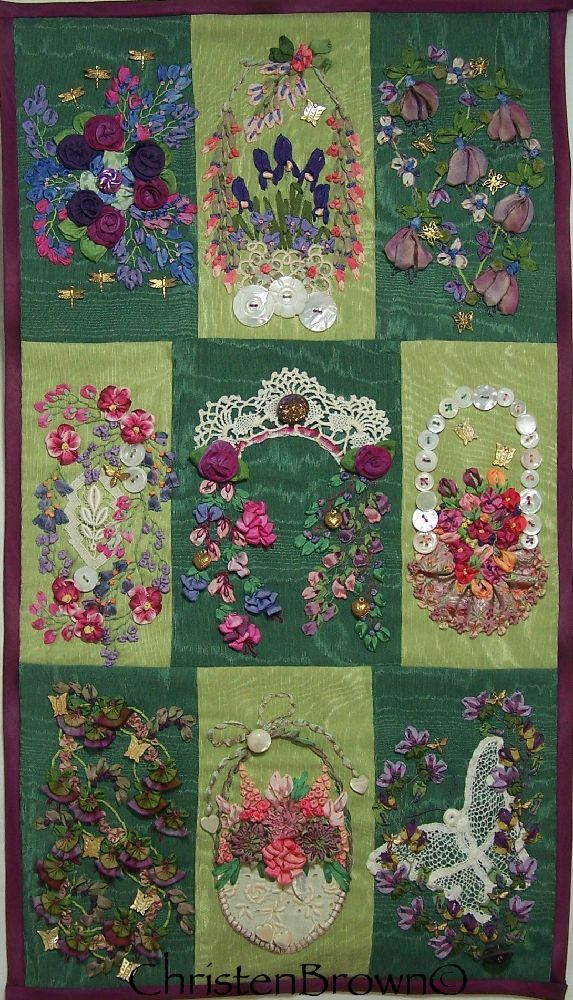 silk ribbon embroidery with ribbonwork flowers