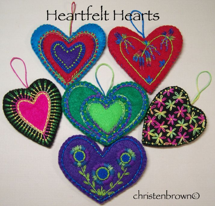 hearts made from felt