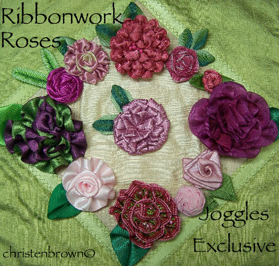 ribbon work roses