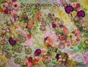 dyed lace scraps, ribbonwork, silk ribbon embroidery