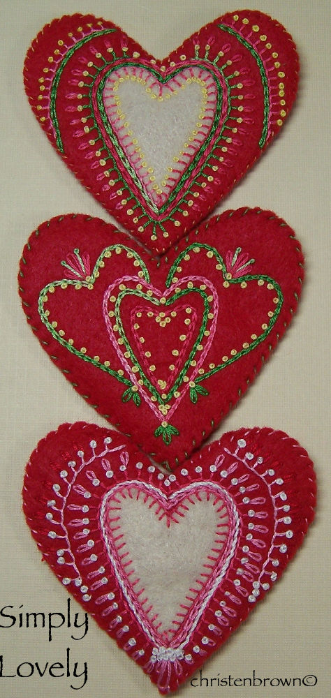 embroidered felt hearts