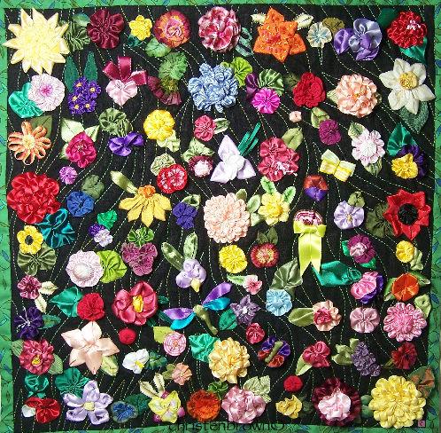 ribbwonwork gardens quilt