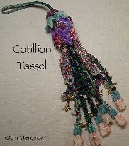 cotillion tassel, ribbonwork, ribbon flowers, ribbon, beads