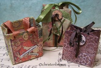 gift bags, collage, mixed media