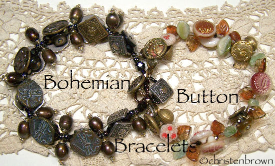 button bracelet, vintage buttons, beads