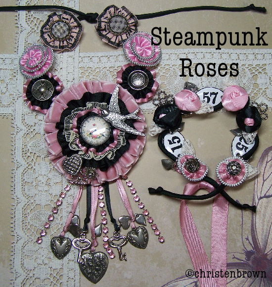 buttons, lace, ribbon, charms, steampunk