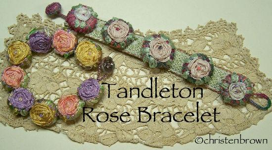 silk ribbon, embroidery, bracelets