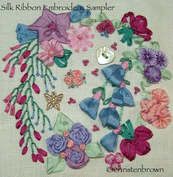 silk ribbon embroidery sampler