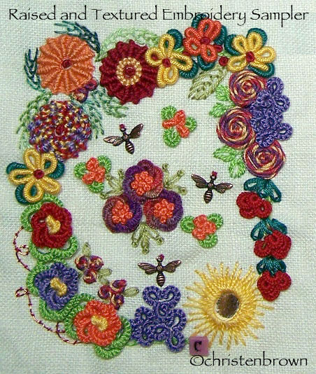 raised and textured embroidery sampler