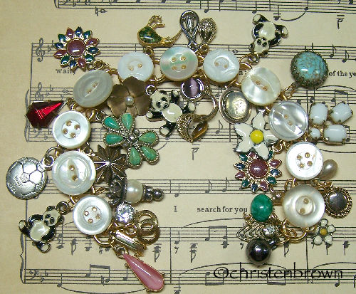 link bracelet, charms, buttons