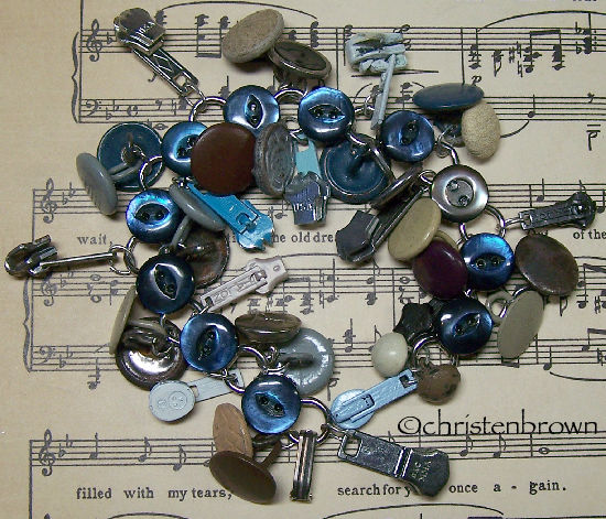 link bracelet, charms, buttons
