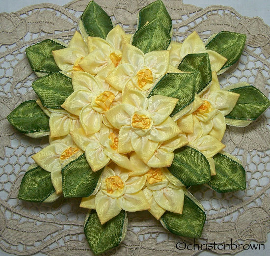 ribbonwork daffodils
