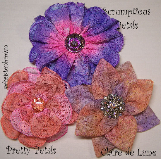 dyed lace flowers
