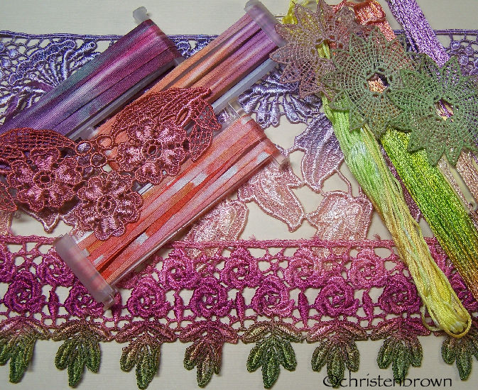 dyed lace, silk embroidery ribbon, and threads