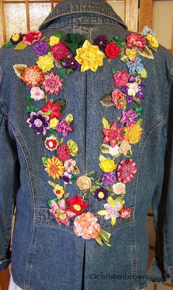 jean jacket embellished with ribbonwork flowers