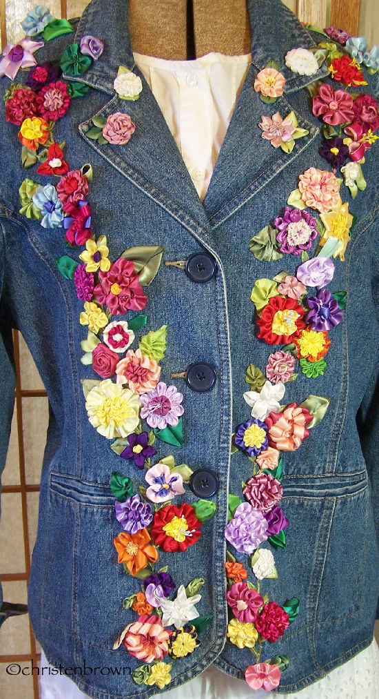 jean jacket with ribbonwork flowers